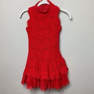 Girls Rare Editions Red Lace Dress - 10